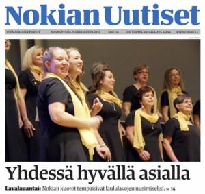 Nokian Naiskuoro pääsi Nokian Uutisten kanteen ma 18.11., kun viikonlopun menestyksekkäästä Lavalauantai- konsertista uutisoitiin. Kuva: Saara Töyssy / Nokian Uutiset.